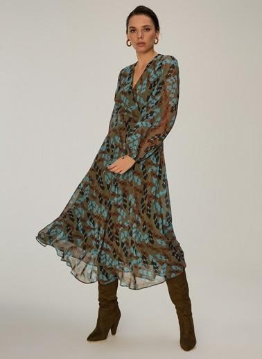 NGSTYLE Kruvaze Yakalı Midi Elbise Haki